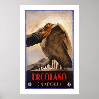 Annonce italienne de voyage d'art déco d'Ercolano