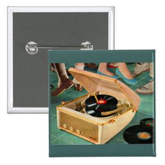 annonce portative de tourne-disque des années 1950 badge
