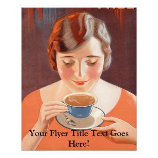 Annonce potable de peinture de thé de femme prospectus 11,4 cm x 14,2 cm