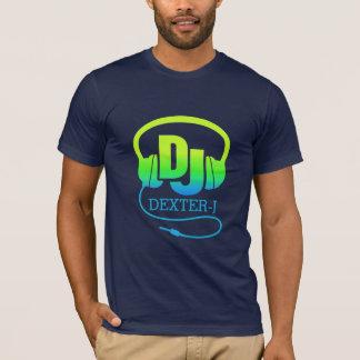 Annonce vert-bleu d'écouteurs du DJ votre propre T-shirt