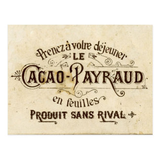 Annonce vintage de cacao de chocolat (rétro grunge carte postale