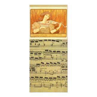 Annonce vintage de leçons de violon du Français   Carton D'invitation 10,16 Cm X 23,49 Cm