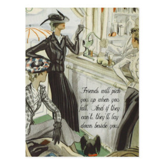 Annonce vintage de mode :  Amitié Carte Postale