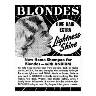 Annonce vintage de shampooing des blondes 40s de carte postale