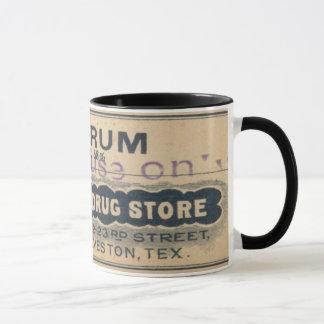 Annonce vintage de tasse d'étiquette de rhum de