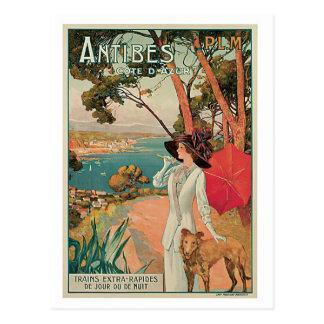 Annonce vintage de voyage d'Antibes France Carte Postale