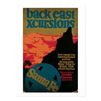 Annonce vintage de voyage de Santa Fe des années Carte Postale