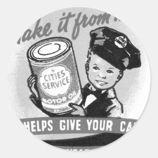 Annonce vintage d'enfant de station service de gaz sticker rond
