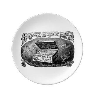 Annonce vintage étrange de pomme de terre assiette en porcelaine