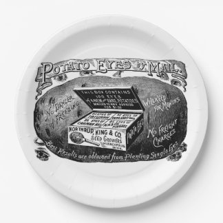 Annonce vintage étrange de pomme de terre assiettes en papier