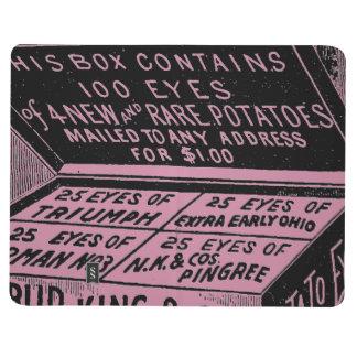Annonce vintage étrange de pomme de terre carnet de poche