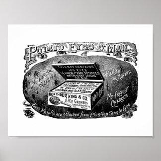 Annonce vintage étrange de pomme de terre posters