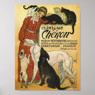 Annonce vintage française de vétérinaire de bureau posters