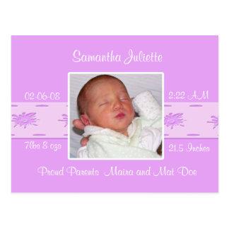 Annonces 1 de naissance de photo de bébé -… - carte postale