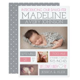 Annonces accueillies de naissance de merveille carton d'invitation  12,7 cm x 17,78 cm