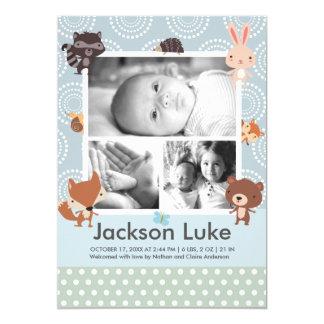 Annonces animales de naissance de photo de garçon carton d'invitation  12,7 cm x 17,78 cm
