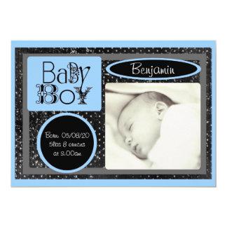 Annonces blanches bleues noires de photo de bébé carton d'invitation  12,7 cm x 17,78 cm