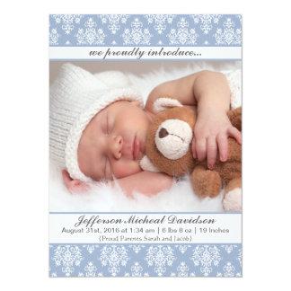 Annonces bleues de naissance de bébé de damassé carton d'invitation  13,97 cm x 19,05 cm