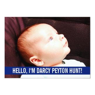 Annonces bleues de naissance de photo de bébé invitations personnalisées