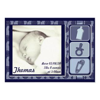 Annonces bleues personnalisables de photo de bébé carton d'invitation  12,7 cm x 17,78 cm