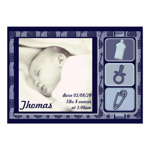Annonces bleues personnalisables de photo de bébé  faire-part personnalisables