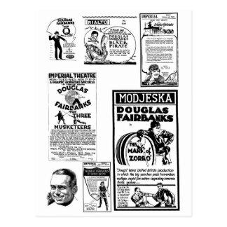 Annonces de film silencieux de Douglas Fairbanks Carte Postale