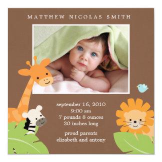 Annonces de naissance d'amis de safari carton d'invitation  13,33 cm
