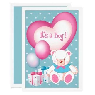 Annonces de naissance de bébé de conception d'ours carton d'invitation  12,7 cm x 17,78 cm