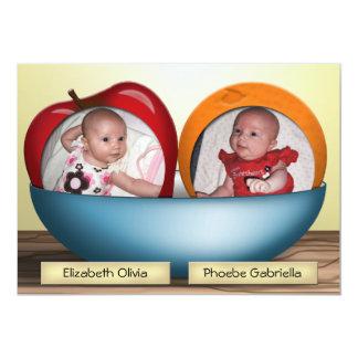 Annonces de naissance de JUMEAUX de pommes et Carton D'invitation 12,7 Cm X 17,78 Cm