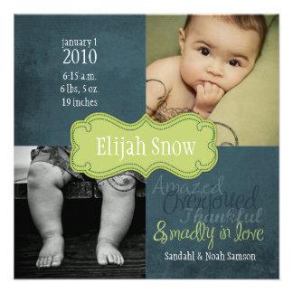 Annonces de naissance de neige d'Élijah Bristols Personnalisés