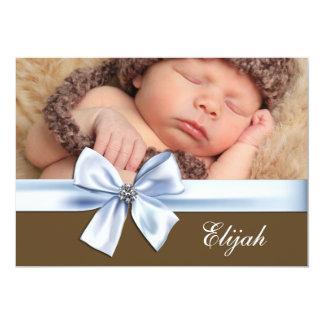 Annonces de naissance de photo de bébé de Brown Carton D'invitation 12,7 Cm X 17,78 Cm