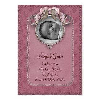 Annonces de naissance de photo de bébé de rose de faire-parts