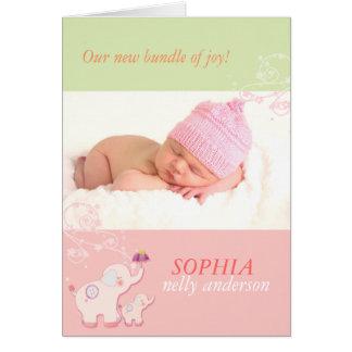 Annonces de naissance de photo de bébé d'éléphants cartes de vœux