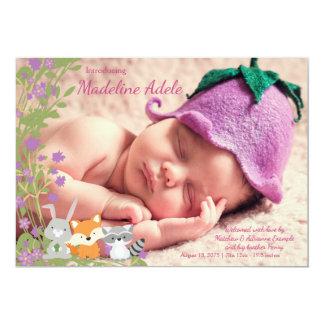 Annonces de naissance de région boisée carton d'invitation  12,7 cm x 17,78 cm