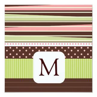 Annonces de photo de bébé de monogramme carton d'invitation  13,33 cm