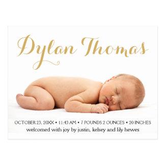 Annonces faites sur commande de naissance de photo carte postale