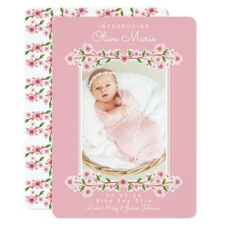 Annonces florales douces de bébé carton d'invitation  12,7 cm x 17,78 cm