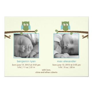 Annonces jumelles de naissance de hiboux (garçons carton d'invitation  12,7 cm x 17,78 cm