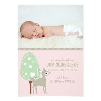 Annonces mignonnes de naissance de photo de bébé invitation