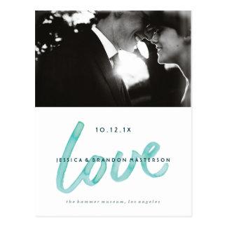 Annonces modernes de mariage d'aquarelle d'amour cartes postales