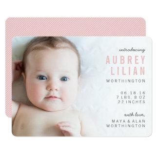 Annonces modernes simples de naissance de fille de carton d'invitation  12,7 cm x 17,78 cm