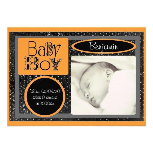 Annonces oranges blanches noires de photo de bébé cartons d'invitation