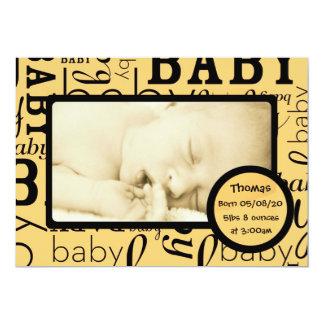 Annonces oranges personnalisables de photo de bébé carton d'invitation  12,7 cm x 17,78 cm