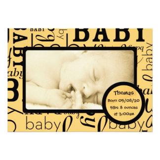 Annonces oranges personnalisables de photo de bébé invitation personnalisée