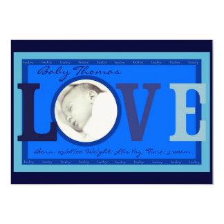 Annonces personnalisables de bleu de photo de bébé carton d'invitation  12,7 cm x 17,78 cm