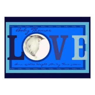 Annonces personnalisables de bleu de photo de bébé faire-parts