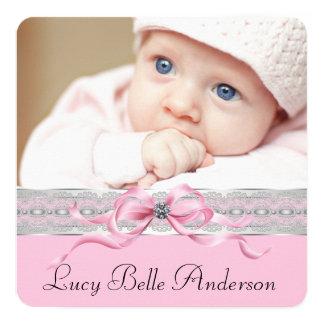 Annonces roses de naissance de bébé de perles invitations