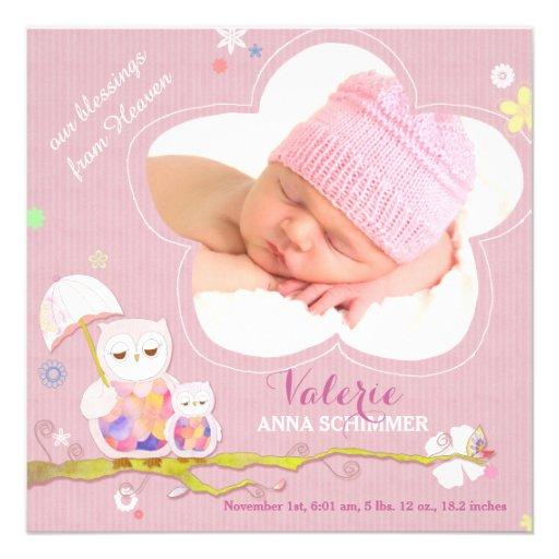 Annonces roses de naissance de photo de bébé de hi bristol personnalisé