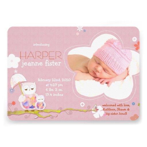 Annonces roses de naissance de photo de bébé de hi bristols personnalisés