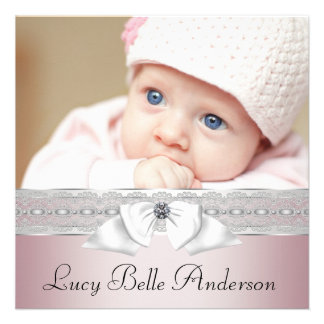 Annonces roses et grises élégantes de naissance invitations personnalisées
